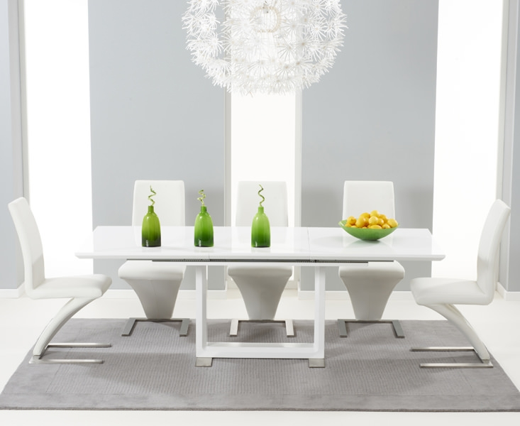 Mark Harris Beckley White High Gloss Dining Set with 6 White Hereford Dining Chairs