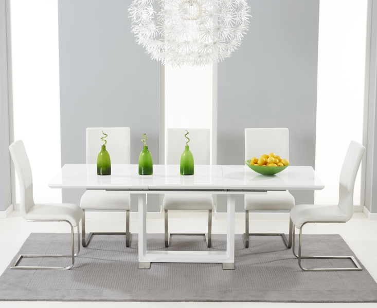 Mark Harris Beckley White High Gloss Dining Set with 6 Ivory White Malibu Dining Chairs