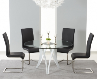 Mark Harris Bellevue White High Gloss Round Glass Top Dining Set - with 4 Black Malibu Chairs