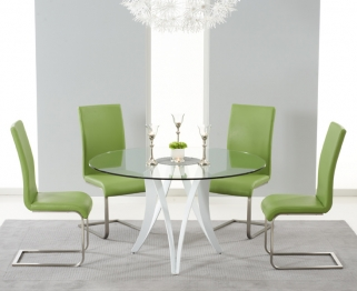Mark Harris Bellevue White High Gloss Round Glass Top Dining Set - with 4 Green Malibu Chairs
