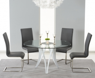 Mark Harris Bellevue White High Gloss Round Glass Top Dining Set with 4 Grey Malibu Dining Chairs