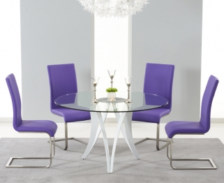 Mark Harris Bellevue White High Gloss Round Glass Top Dining Set with 4 Purple Malibu Dining Chairs