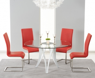 Mark Harris Bellevue White High Gloss Round Glass Top Dining Set - with 4 Red Malibu Chairs