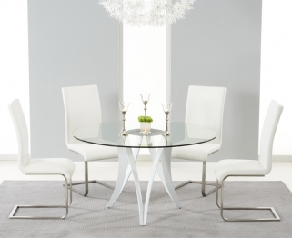 Mark Harris Bellevue White High Gloss Round Glass Top Dining Set with 4 Ivory Malibu Dining Chairs
