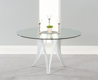 Mark Harris Bellevue White High Gloss Round Glass Top Dining Table - 130cm