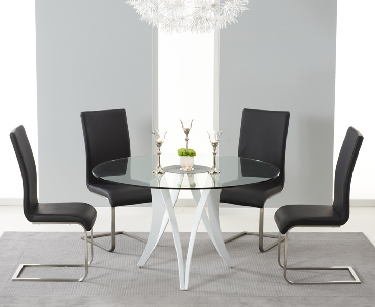 gloss round glass top dining set with 4 black malibu chairs online