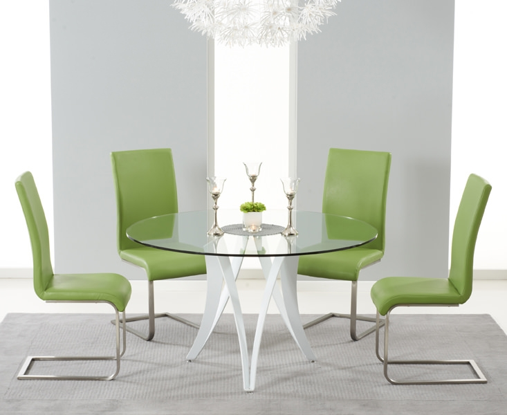 Mark Harris Bellevue White High Gloss Round Glass Top Dining Set with 4 Green Malibu Dining Chairs