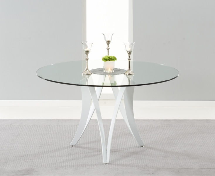 Mark Harris Bellevue White High Gloss Round Glass Top 130cm Dining Table