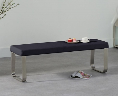 Mark Harris Ava Black Faux Leather Medium Bench