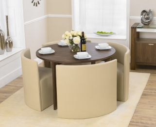 Mark Harris Bentley Walnut 120cm Stowaway Dining Table with 4 Cream Chairs