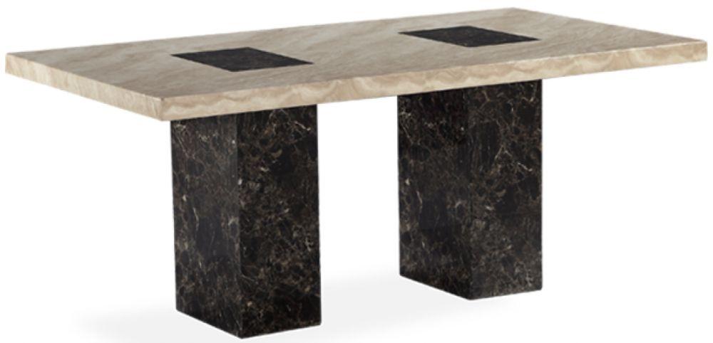 Mark Harris Bilbao Brown and Cream Marble Rectangular Dining Table - 180cm
