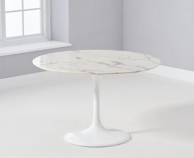Mark Harris Brittney Round White Marble Effect Top 120cm Dining Table