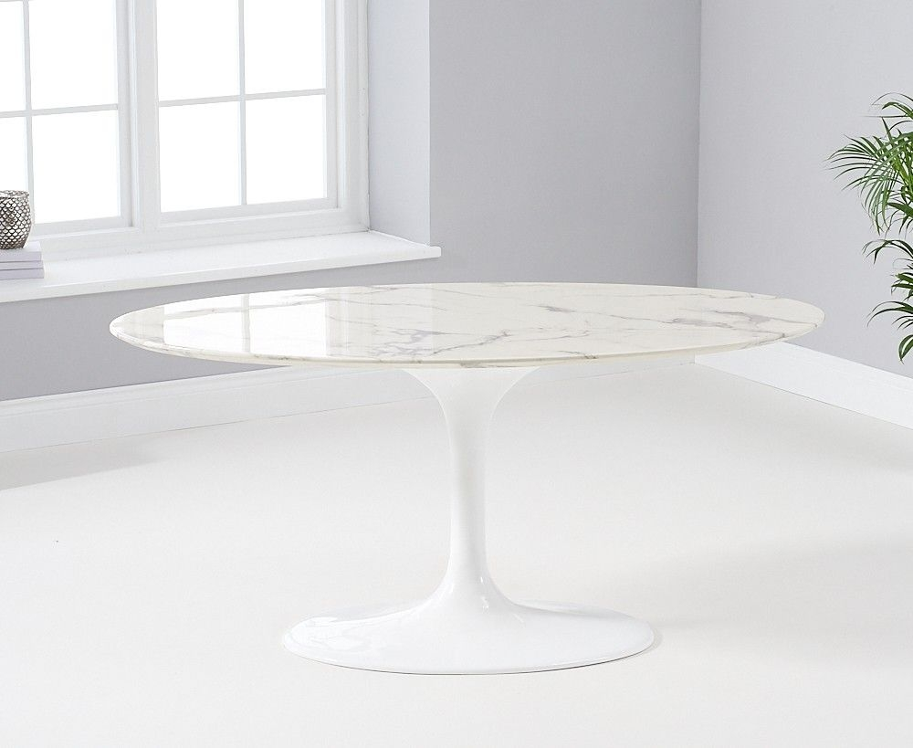 Mark Harris Brittney Oval White Marble Effect Top 160cm Dining Table