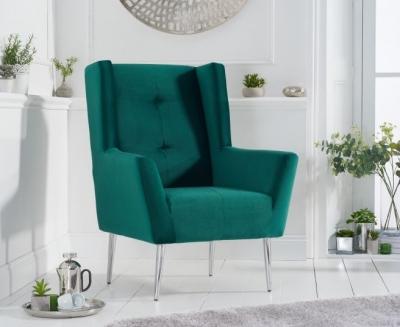 Mark Harris Brooklyn Green Velvet Fabric Accent Chair