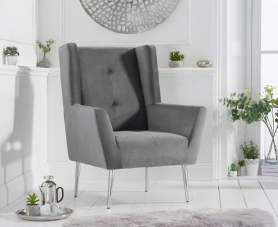 Mark Harris Brooklyn Grey Velvet Fabric Accent Chair