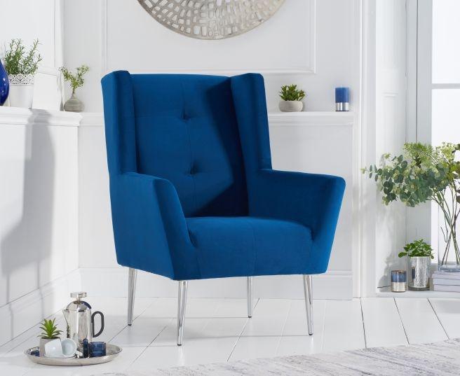 Mark Harris Brooklyn Blue Velvet Fabric Accent Chair