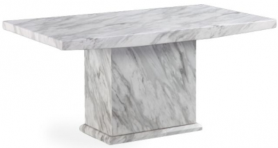 Mark Harris Caceres White and Grey Marble Rectangular Dining Table - 220cm