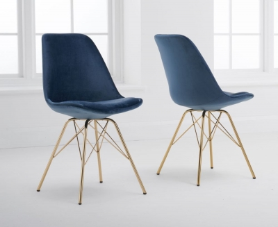 Mark Harris Calabasus Blue Velvet Gold Leg Dining Chair (Pair)