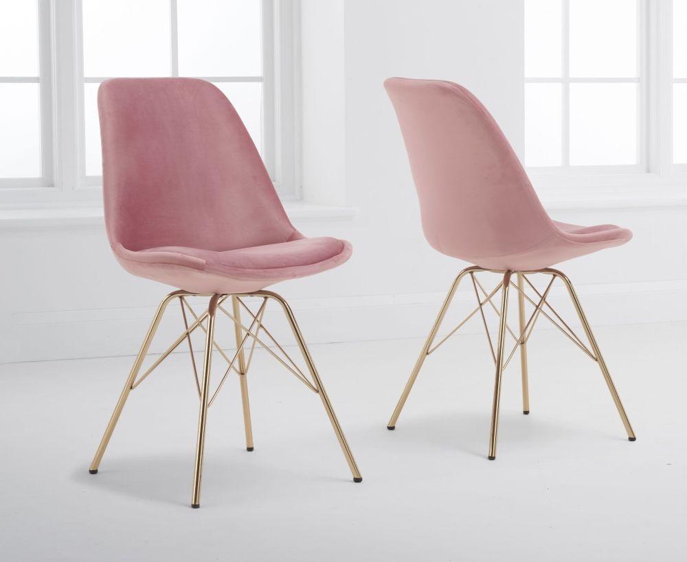 Mark Harris Calabasus Blush Velvet Gold Leg Dining Chair (Pair)