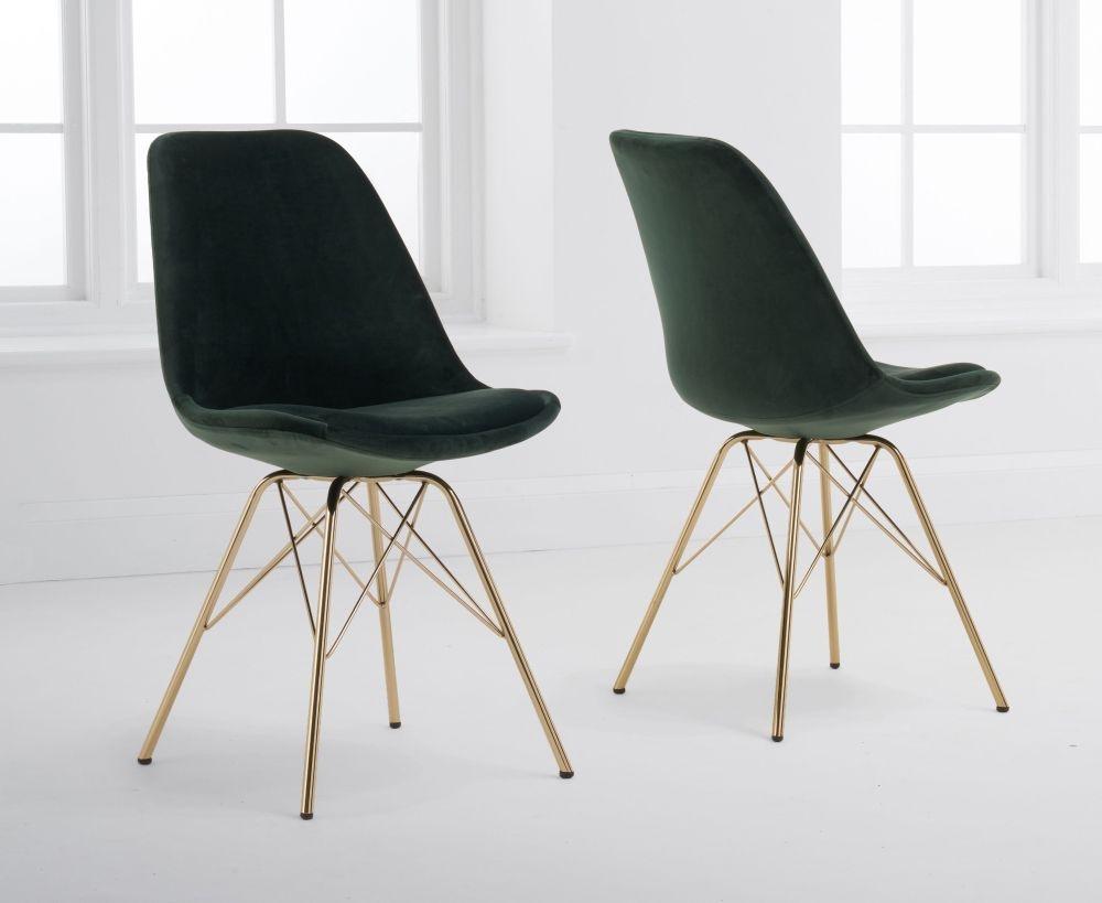 Mark Harris Calabasus Green Velvet Gold Leg Dining Chair (Pair)
