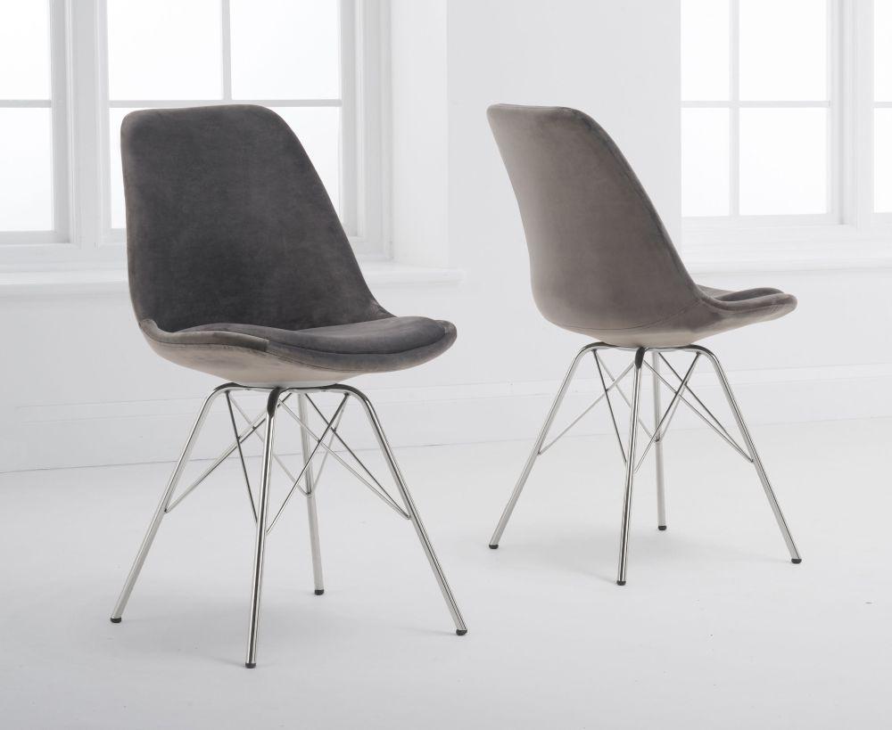 Mark Harris Calabasus Grey Velvet Chrome Leg Dining Chair (Pair)