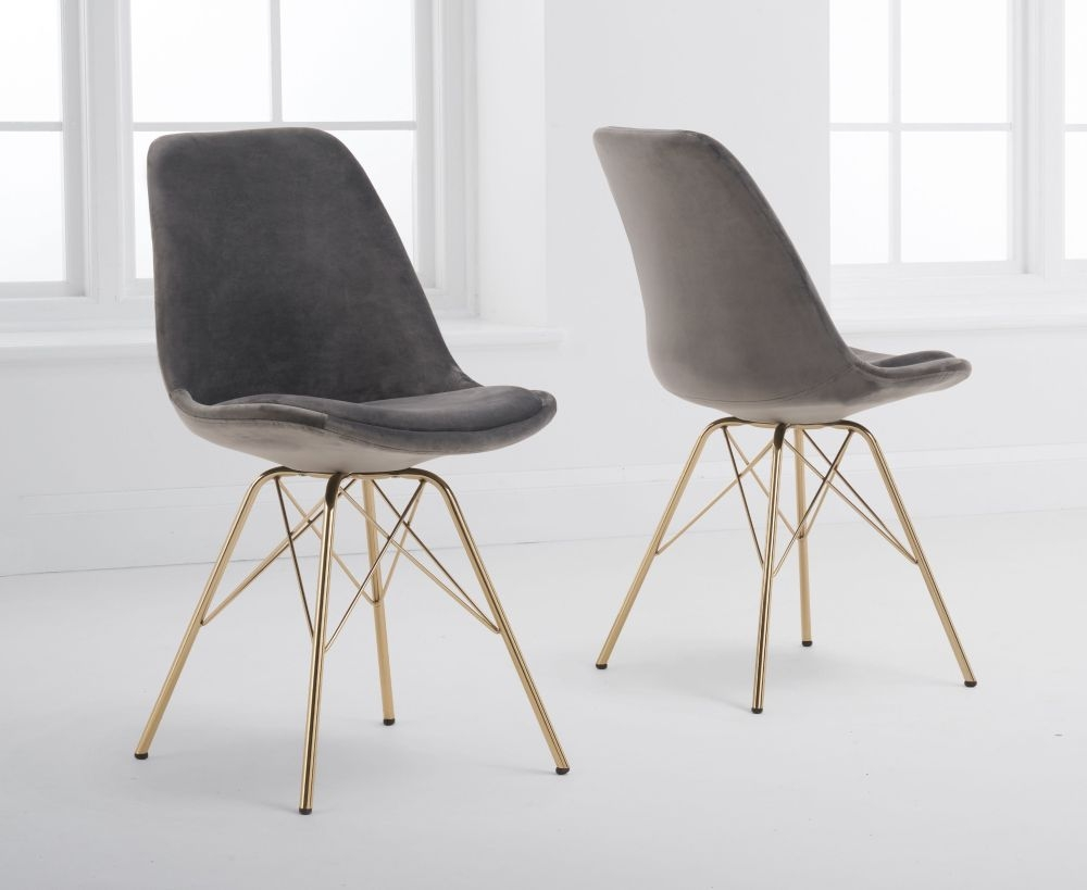 Mark Harris Calabasus Grey Velvet Gold Leg Dining Chair (Pair)