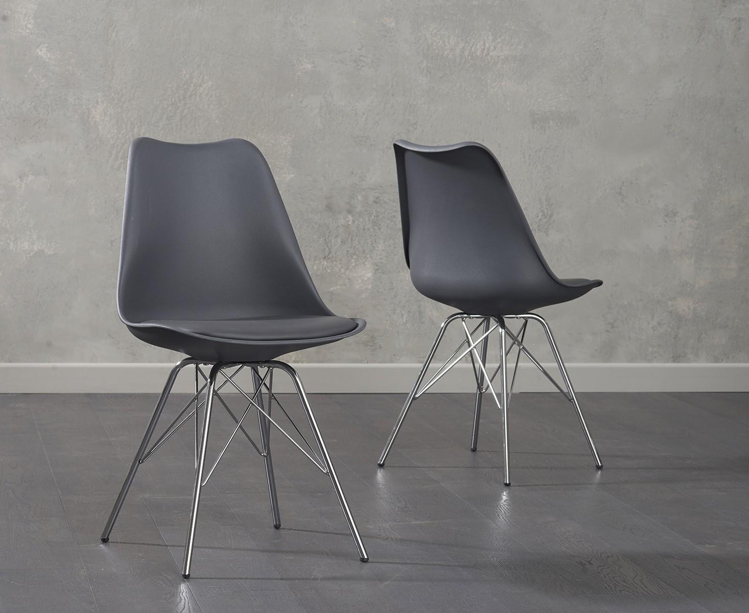 buy mark harris calabasus dark grey faux leather dining chair chrome legs pair online cfs uk. Black Bedroom Furniture Sets. Home Design Ideas