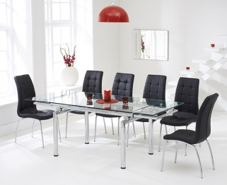 Mark Harris California 140cm Extending Glass Dining Table with 6 Black Chairs