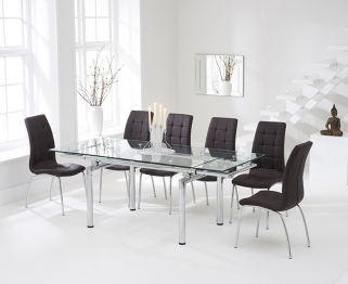 Mark Harris California 140cm Extending Glass Dining Set with 6 Brown Dining Chairs