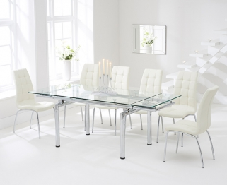 Mark Harris California 140cm Extending Glass Dining Table with 6 Cream Chairs