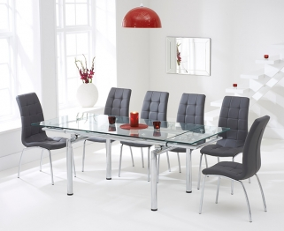 Mark Harris California 140cm Extending Glass Dining Table with 6 Grey Chairs