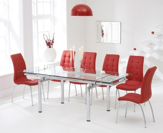 Mark Harris California 140cm Extending Glass Dining Table with 6 Red Chairs