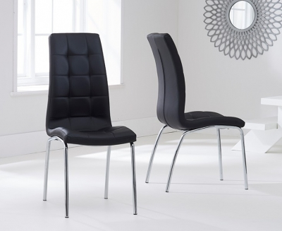 Mark Harris California Black Faux Leather Dining Chair (Pair)