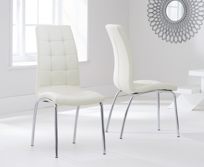 Mark Harris California Cream Faux Leather Dining Chair (Pair)
