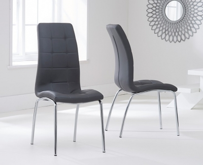 Buy Mark Harris California Grey Faux Leather Dining Chair Pair