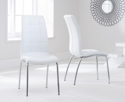 Mark Harris California White Faux Leather Dining Chair (Pair)