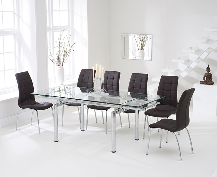 Mark Harris California 140cm Extending Glass Dining Table with 6 Brown Chairs