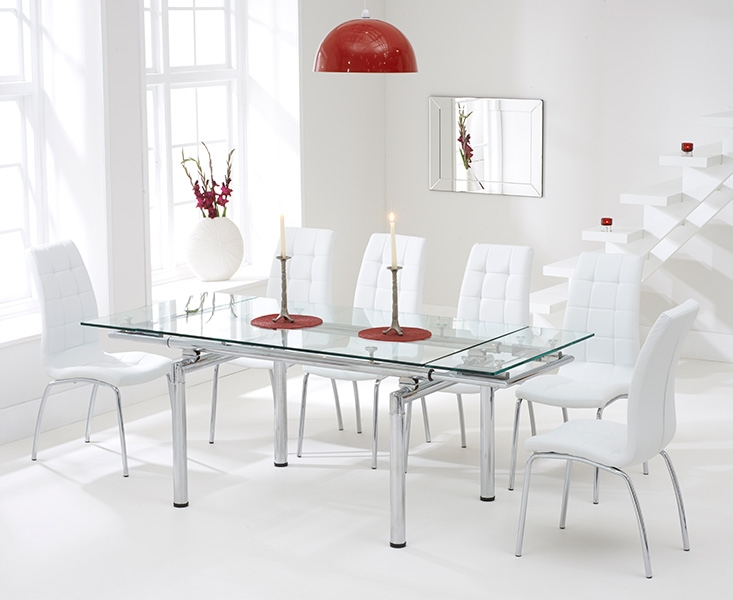 Mark Harris California 140cm Extending Glass Dining Table with 6 White Chairs