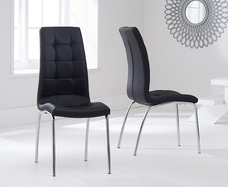 Mark Harris California Black Faux Leather Dining Chair (Pair)