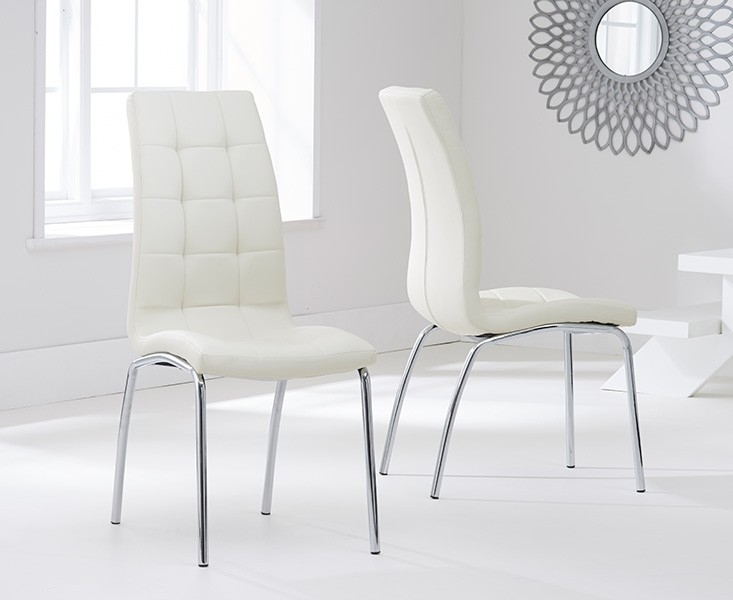 Mark Harris California Cream Faux Leather Dining Chair (Pair)