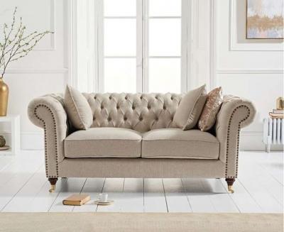 Mark Harris Camara Chesterfield Cream Linen 2 Seater Sofa