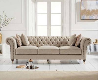 Mark Harris Camara Chesterfield Cream Linen 3 Seater Sofa