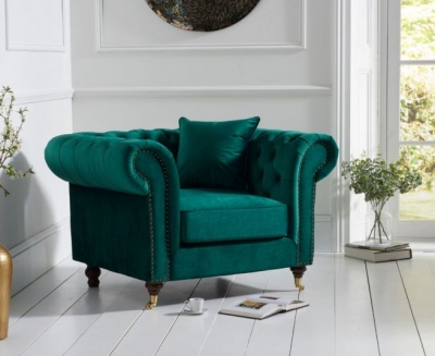 Mark Harris Camara Chesterfield Green Velvet Armchair