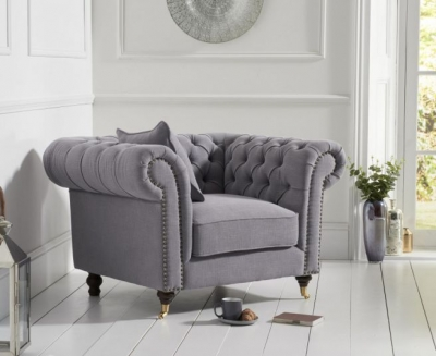 Mark Harris Camara Chesterfield Grey Linen Armchair