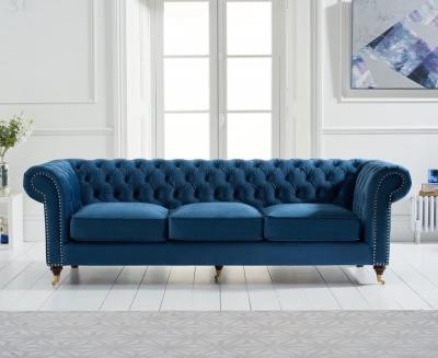 Mark Harris Camara Chesterfield Blue Velvet 3 Seater Sofa