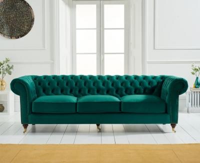 Mark Harris Camara Chesterfield Green Velvet 3 Seater Sofa