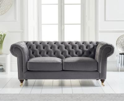 Mark Harris Camara Chesterfield Grey Velvet 2 Seater Sofa