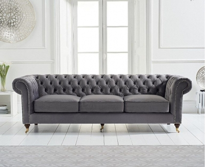 Mark Harris Camara Chesterfield Grey Velvet 3 Seater Sofa