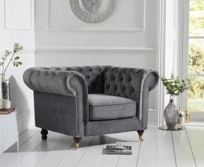 Mark Harris Camara Chesterfield Grey Velvet Armchair