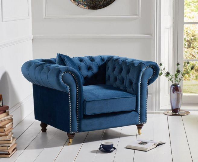 Mark Harris Camara Chesterfield Blue Velvet Armchair